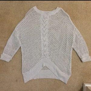 Sweaters - Knit sweater in ecru w a touch of silver metallic